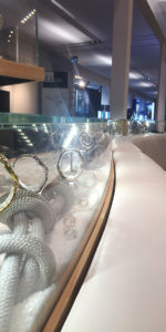 view of a watch display in shop